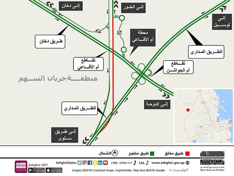 Al Khor bound Traffic on Orbital Road Diverted Temporarily