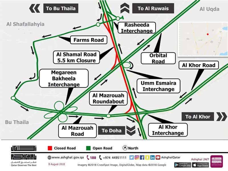 One-Hour Diversion on Southbound Carriageway of Al Shamal Road between Rasheeda Interchange and Al Khor Interchange