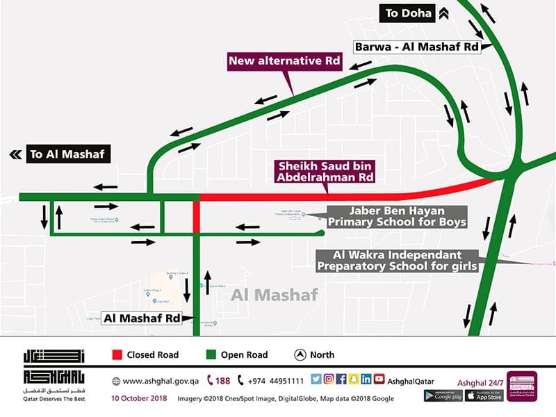 Partial Closure of Sheikh Saud bin Abdelrahman Road in Al Mashaf